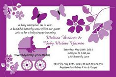purple butterfly baby shower invite
