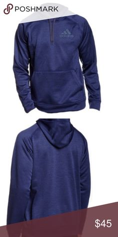 """Adidas Pullover Fleece Hoodie Details:  - Attached hood with drawstring - Long sleeves - Chest logo - Kangaroo pocket - Approx. 28"""" length - Imported  This item cannot be shipped to Canada. Fiber Content:  100% polyester Adidas Shirts Sweatshirts & Hoodies"""