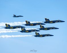 F/18 SUPER HORNETS Super Blues Delta Formation 11x14 matting 8x10 print Signed by photographer, Jacob Warye. Us Navy Blue Angels, Hornet, Fighter Jets, Blues, Aircraft, Prints, Photography, Aviation, Photograph