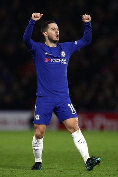 Eden Hazard of Chelsea celebrates scoring the first Chelsea goal during the Premier League match between Watford and Chelsea at Vicarage Road on February 5, 2018 in Watford, England.