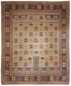 A Swedish Pile Weave Rug  BB4885 - A Swedish Pile Weave Rug with whimsical star shapes and what looks like faces all but one has the same expression. ...