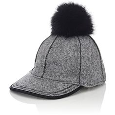 Lola Hats Women's Fur Pom-Pom Baseball Cap ($250) ❤ liked on Polyvore featuring accessories, hats, grey, floral baseball cap, pom pom hat, baseball cap, grey hat and stitch hat