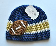 Navy Blue White & Gold Football Beanie Hat for Baby from Peaces by Cortney at www.etsy.com/shop/peacesbycortney