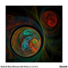Rebirth Blue Abstract Art Print