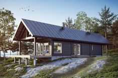 Modern cabin in Finland by Honka Log Homes Modern Log Cabins, Modern Barn House, Small Log Cabin, Tiny Cabins, Log Cabin Homes, Residential Log Cabins, Japanese House, Sustainable Architecture, Building A House