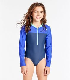 Girls' Watersports Swimsuit II, One-Piece, Long-Sleeve Colorblock Swimsuits For Tweens, Little Girl Swimsuits, Kids Swimwear, Bikini Girls, Girls Sports Clothes, Preteen Girls Fashion, Young Girl Fashion, Mädchen In Leggings, Little Girl Models