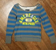 Womens Small Pull over Sweatshirt by American Eagle Blue and Gray (A119) #AmericanEagleOutfitters #SweatshirtCrew