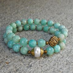 positivity and purity, genuine amazonite gemstone and pearl mala bracelet set