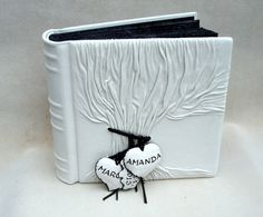 Wedding Photo Album Tree of Life White and Black by Leatherdust