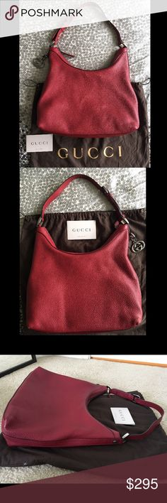 """Red Gucci Hobo Shoulder Bag, Pebbled Leather, GG Red Gucci Hobo Shoulder Bag Pebbled Leather, GG detail & zipper in polished Gunmetal Grey.  Very roomy interior, w cellphone pockets interior zippered compartment.  Lined. Inner tab stamped """"GUCCI"""",  """"made in Italy"""" with copyright and is numbers on back.  This is a gorgeous bag that can go from every day to adding the punch to a neutral outfit.  This was purchased at Gucci. Gently worn. Excellent condition, only the slightest signs of wear…"""