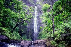 Hanakapiai Falls, Kauai Hawaii. hiked 8 miles just to see this waterfall. Feet & hiking boots wet, saved a man from slipping on a rock head first into the stream and I was tired but well worth it!! Paul got to swim right under it! :)