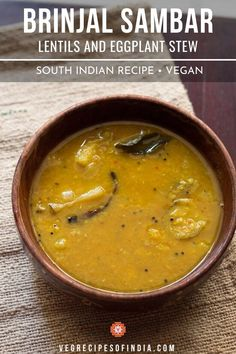Kathirikai Sambar Recipe with step by step photos. a quick and tasty recipe of south indian sambar made with small brinjal. Brinjal Recipes Indian, Easy Indian Recipes, Vegetarian Soup, Vegetarian Recipes, Cooking Recipes, Healthy Recipes, Sambar Recipe South Indian, Comida India, High Protein Vegan Recipes