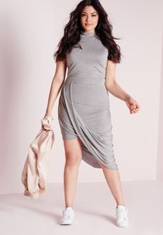 Plus Size Drape Sleeveless Dress Grey