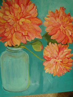Peonies in Aqua Canning Jar Floral Painting on Cobalt Teal background, Original Flowers painting on canvas, Pretty Peachy Pink on Etsy, $165.00
