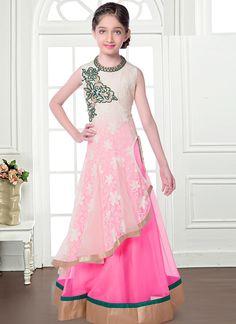 Flawless Pink And White Net Kids Anarkali Salwar Suit