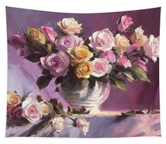 "Rhapsody of Roses, romantic floral pink art tapestry from Steve Henderson Collections. Flowers sing a song that is not audible, but one that we ""hear"" through our eyes and noses. A bouquet of pink and gold and purple and lavender flowers cascades joyfully from their vase, calling out to all who enter the room: ""Be happy! Feel joy! Celebrate beauty!"" #roses #flowers #floral #romantic #pink #tapestry #wallart #happy #ArtThatSpeaks #shenderson #homedecor #countrydecor #flowerart #art"