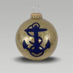 Navy Anchor Gold Sparkle Ornament