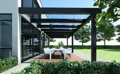 Pergola Attached To House Beams - Pergola Patio Hammock - - Pergola Bois Vegetal - Pergola With Roof, Modern Pergola, Outdoor Decor, Glass Roof, Garden Design, Outdoor Design