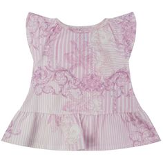BABY GIRLS PINK & WHITE BAROQUE PRINT PEPLUM TOP WITH FRILL SLEEVES