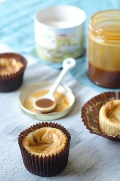 Salted Caramel Cheesecake Cups by pink-parsley. Recipe adapted from Martha Stewart's Cupcakes #Cheesecake #Salted_Caramel #pink_parsley #Martha_Stewart