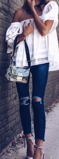 classy & casual   office outfit with ripped jeans