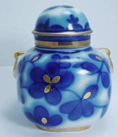 Lomonosov Russian Porcelain Tea Caddy Cobalt Blue Gold Forget me Not USSR.  via Etsy.
