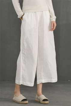Linen Trousers White Women Slacks Pants K56101