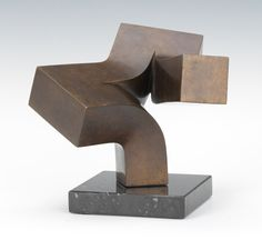 """Clement Meadmore (Australian, 1929-2005) 5¼""""H x 7½""""W x 7""""W """"Branching Out"""". Bronze with brown patina, signed near the lower edte, dated '80, numbered 12/15, with an insignia incised in another lower edge, mounted on a black marble base. This is a limited edition maquette of """"Branching Out"""" 1981.80 held at the Cleveland Museum of Art."""