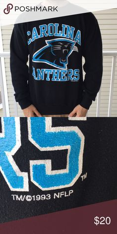 Vintage 1993 Carolina Panthers crewneck. This boy is MEAN!! Hard bodied design on front. Fits in between medium and large. Model pictured is a large and is a TAD short but he also has broad shoulders. Crazy hard Crew Neck from 1993. They just don't make them like this anymore! Vintage Sweaters Crewneck
