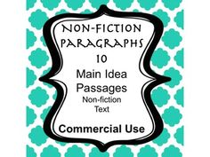 Nonfiction FREE COMMERCIAL USE!   Here are 10 non-fiction short paragraphs to use for main idea, reading comprehension, or any literacy skill.  The topics include: exercise, Florida, Buterflies, Pie, Planets, Moons, Volcanoes, Fossils, Pizza, and Amelia Earhart. You will receive PDF file.