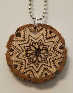 Mandala 10. $18.00, via Etsy.    pyrography, wood burned necklace, handmade
