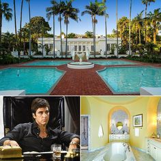 On the heels of news that Universal Pictures is moving forward with plans to remake the cult classic 1983 film Scarface comes word that the iconic home owned Small Sitting Rooms, Sitting Area, California Style, California Homes, Church Conversions, Ghost City, Universal Pictures, Celebrity Houses, Condos For Sale