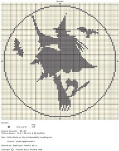 broomstick witch cross stitch chart