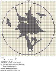 broomstick witch cross stitch chart