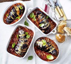 Roast aubergine Parmigiana from BBC Good Food Magazine Home Cooking Series: Vegetarian Summer (Summer by Jane Hornby Cheesy Recipes, Veggie Recipes, Vegetarian Recipes, Veggie Meals, Diet Recipes, Healthy Recipes, Roast Pork Chops, Bbc Good Food Show, Chicken Parmigiana