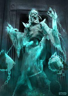 30 minutes speedpainting of the character of the ghost of Jacob Marley from Charles Dickens' Christmas Carol. Fantasy Rpg, Dark Fantasy Art, Fantasy Artwork, Medieval, Magical Creatures, Fantasy Creatures, Dark Art Drawings, Spirited Art, The Revenant