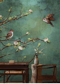 Vintage Dark Birds and Flowers Wallpaper, Nature Wall Mural, Floral Wall Art,Wall Decal, Dark Green Wall Sticke - tapetti - Flowers Wallpaper, Of Wallpaper, Photo Wallpaper, Dark Green Wallpaper, Green Nature Wallpaper, Cartoon Wallpaper, Tapetes Vintage, Art Mural Floral, Dark Green Walls