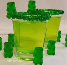 Green Gummy Bear Shots - For more delicious recipes and drinks, visit us here: www.tipsybartender.com