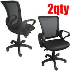2xhome - Set of Two (2) - Professional Executive Mesh Computer Office Desk Midback Mid Back Task Chair Nylon Black Work Task Computer Furniture Conference Room