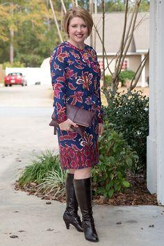 Savvy Southern Chic: Print shirt dress, tall boots, clutch