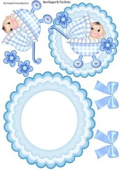 Cute baby in blue gingham with bows flowers rocker on Craftsuprint - Add To Basket!