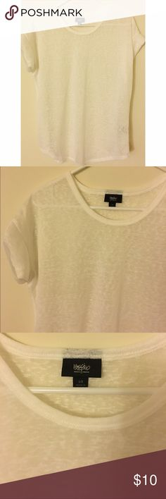 """White tee NEW never worn. Target brand mossimo scoop neck white semi sheer tee. Size large. Can be worn oversized and off the shoulder on someone who is a size small. Approx 26"""" long. Mossimo Supply Co Tops Tees - Short Sleeve"""