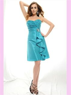 Blue Sweetheart Elastic Satin Short Bridesmaid Dress ABM020074