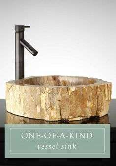 Invite a natural look into your guest or master bath with this petrified wood vessel sink. The charm of this one-of-a-kind piece makes it the perfect addition to your new bathroom.
