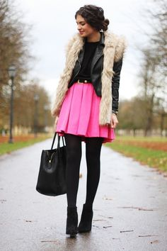 Pink swing skirt, faux fur lined leather jacket...and black stockings with black booties. Love this whole outfit for a fall day. :)