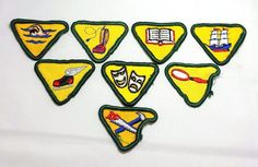 Vintage 1960s Wolf Cub Scouts Merit Badges Set of 8 Embroidered Patches Sew On