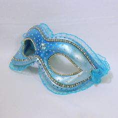 """Blue Rhinestone Masquerade Mask - """"Sea Orchid"""" ($120) ❤ liked on Polyvore featuring costumes, masks, blue costume, masquerade costume, masquerade halloween costumes and blue halloween costume"""