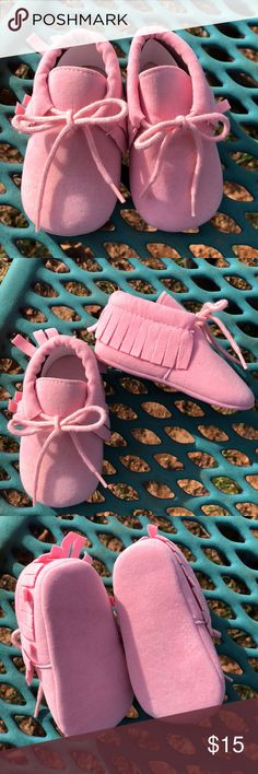 New! Baby Blush Pink Moccasins! New, never worn. Perfect for winter! Suede-like material. Shoes Moccasins