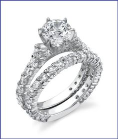 Gregorio 18K White Gold Diamond Engagement Ring Set (2.40 cttw, G-H color, VS-SI clarity)  Price : $7,400.00 http://www.blountjewels.com/Gregorio-White-Diamond-Engagement-clarity/dp/B0099UK7KU