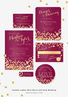 Wine berry and gold twinkle lights wedding invitation set.Gold dots light effect design and elegant burgundy wine or cranberry color wedding.